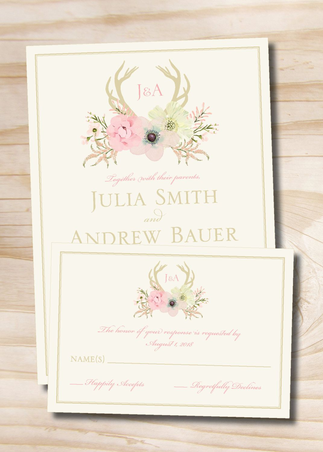 Rustic Watercolor Floral Antlers Wedding Invitation And Response