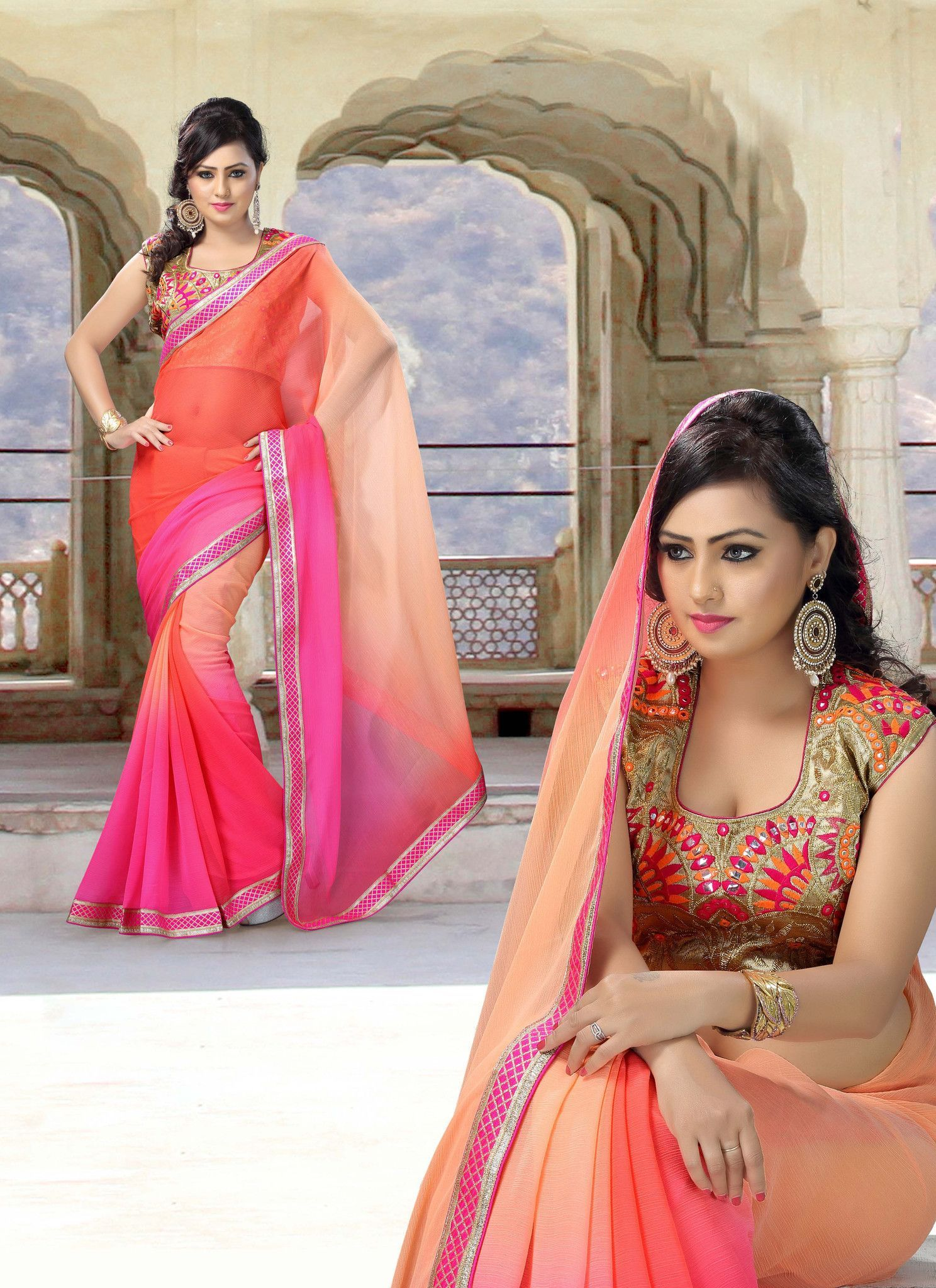 Orange & Pink Chiffon Saree With Embroidered Blouse