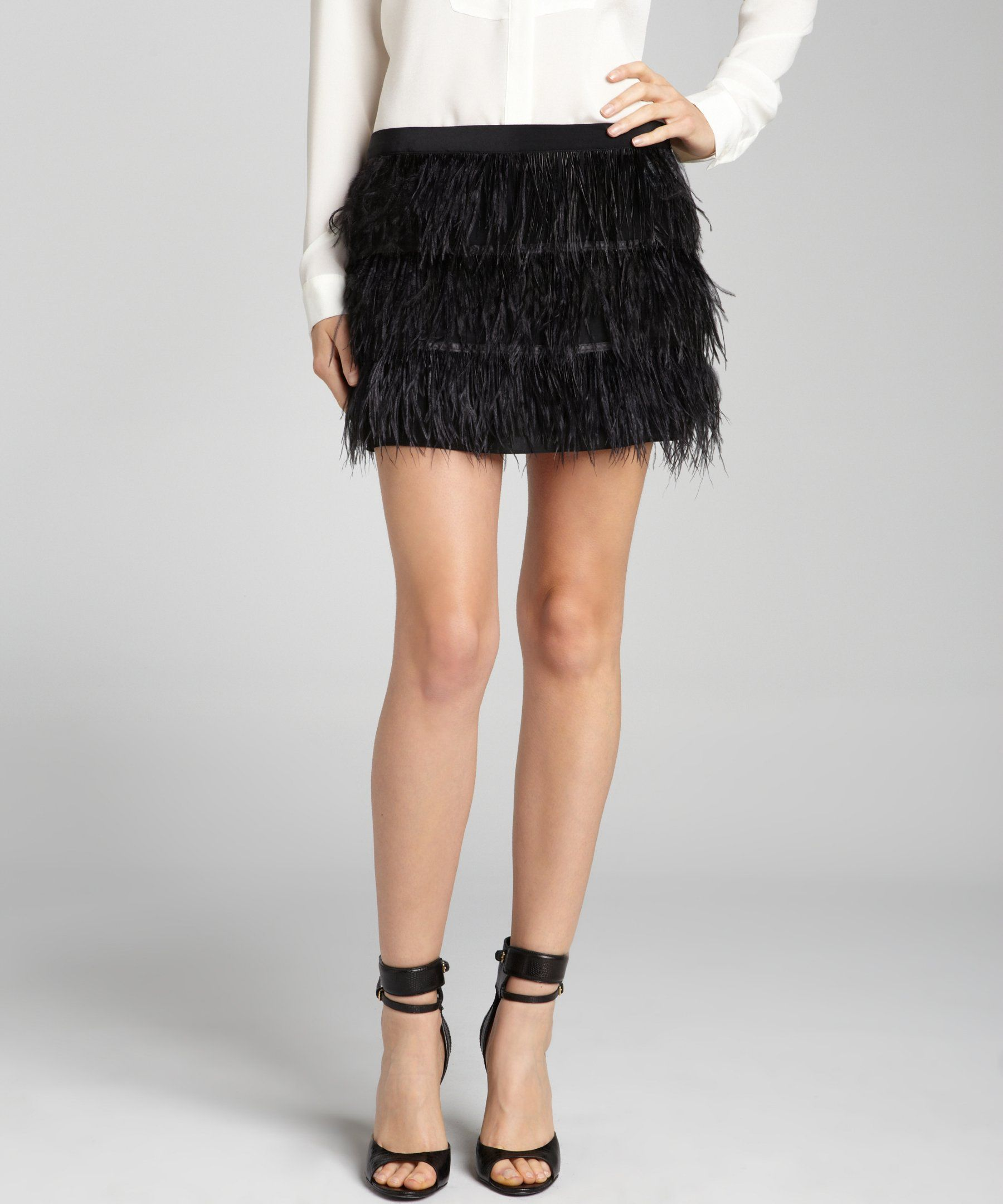 Wyatt black silk and ostrich feather mini skirt | BLUEFLY up to 70% off designer brands