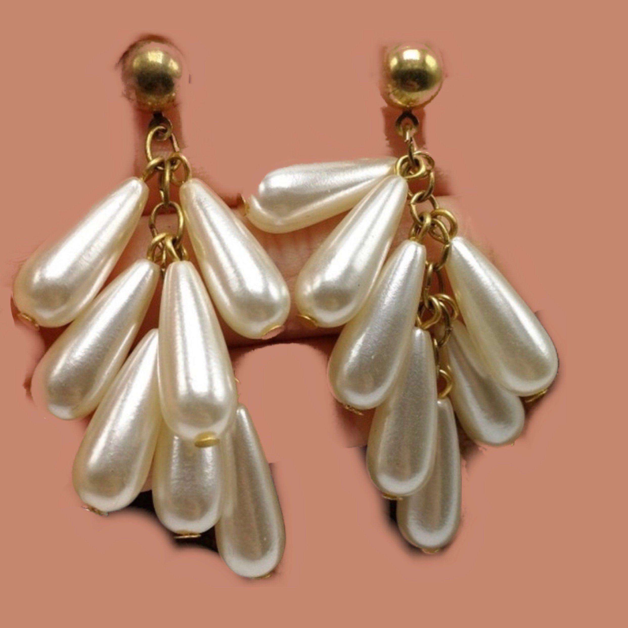 Vintage Pearl Teardrop Tassel Dangles Now Trending 90s Glamour Jewelry Statement Earrings