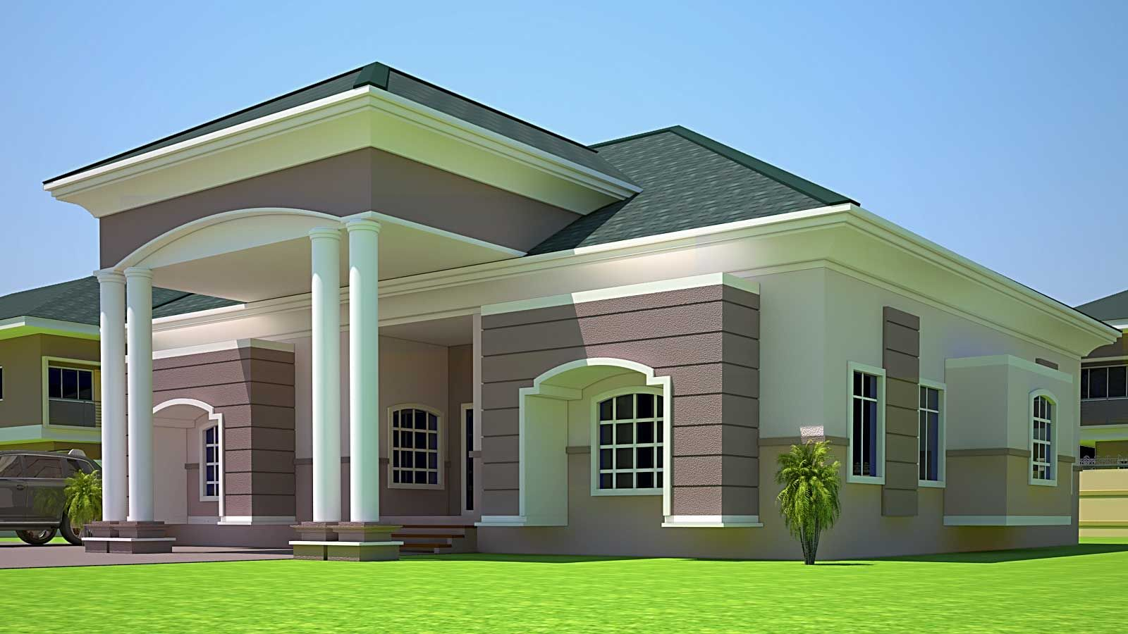Elegant luxurious 4 bedroom house in home remodeling ideas for Ghana house plan