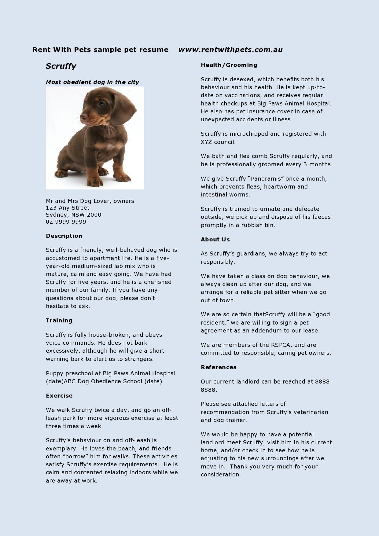 rent with pets pet resume
