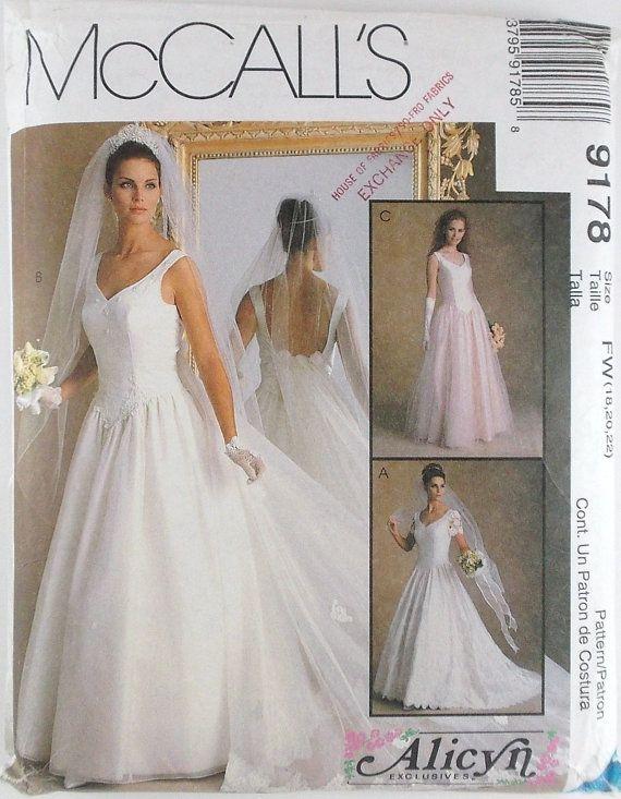 Misses Bridal Gowns Dress Plus Sizes McCalls Pattern 9178 Wedding ...