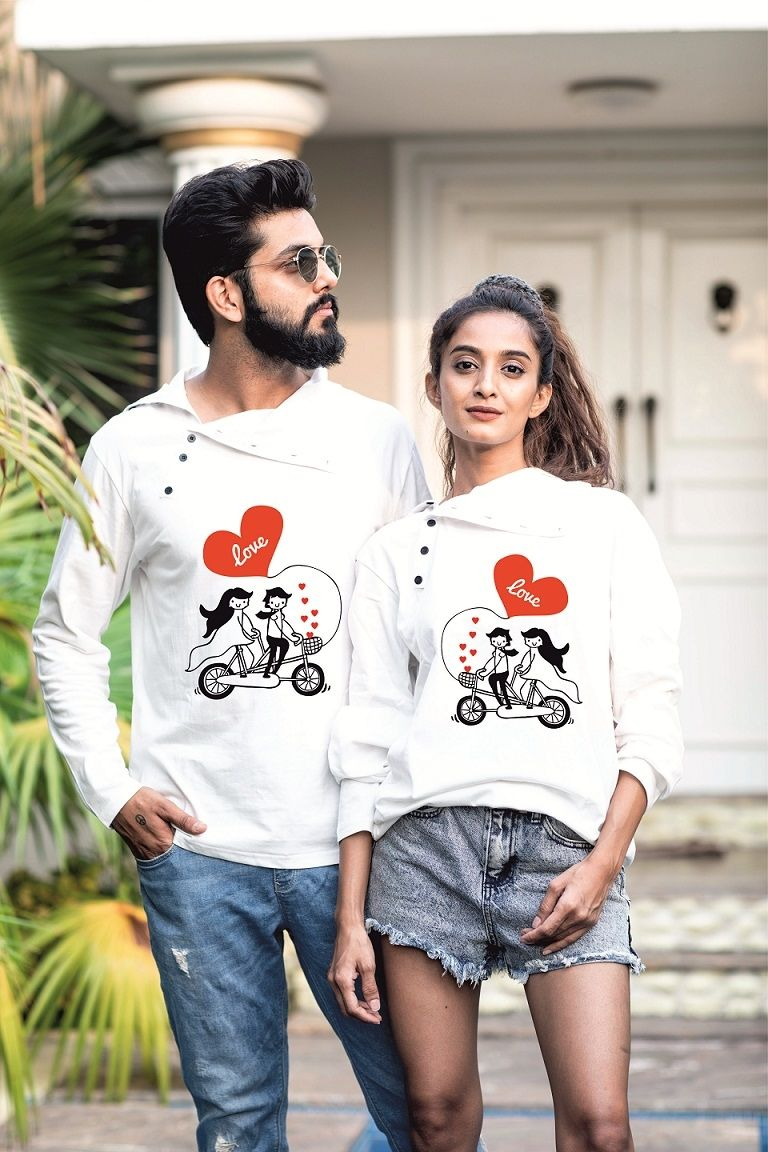 ed098f3c81 Buy Premium Quality Valentine Special Personalized Love Cycle Couple Tees  Online at Low prices in India