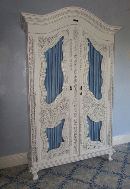 FRENCH COUNTRY LOUIS XV CARVED WOOD CAGE FRONT ARMOIRE OR WARDROBE