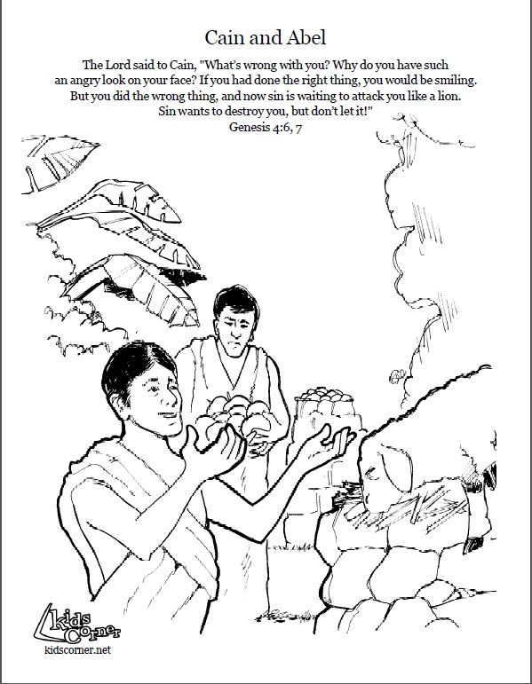cain and abel coloring page script and bible story - Bible Coloring Pages Cain Abel