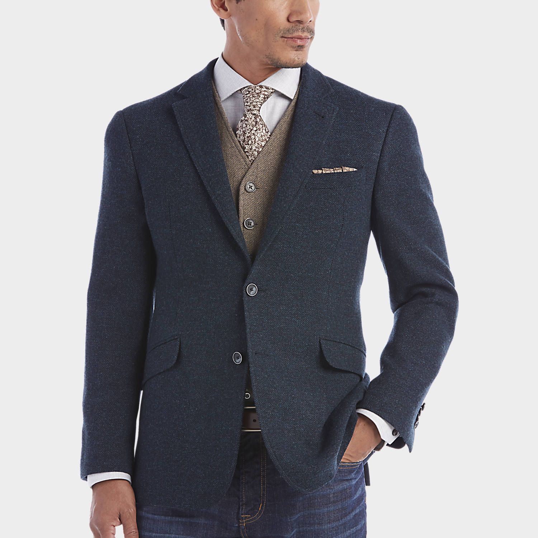 Buy a JOE by Joseph Abboud Blue Herringbone Slim Fit Sport Coat ...