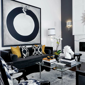 Atmosphere Interior Design Living Rooms Marble Fireplace Navy Blue Accent Wall Cowh Gold Living Room Black Sofa Living Room Black And White Living Room