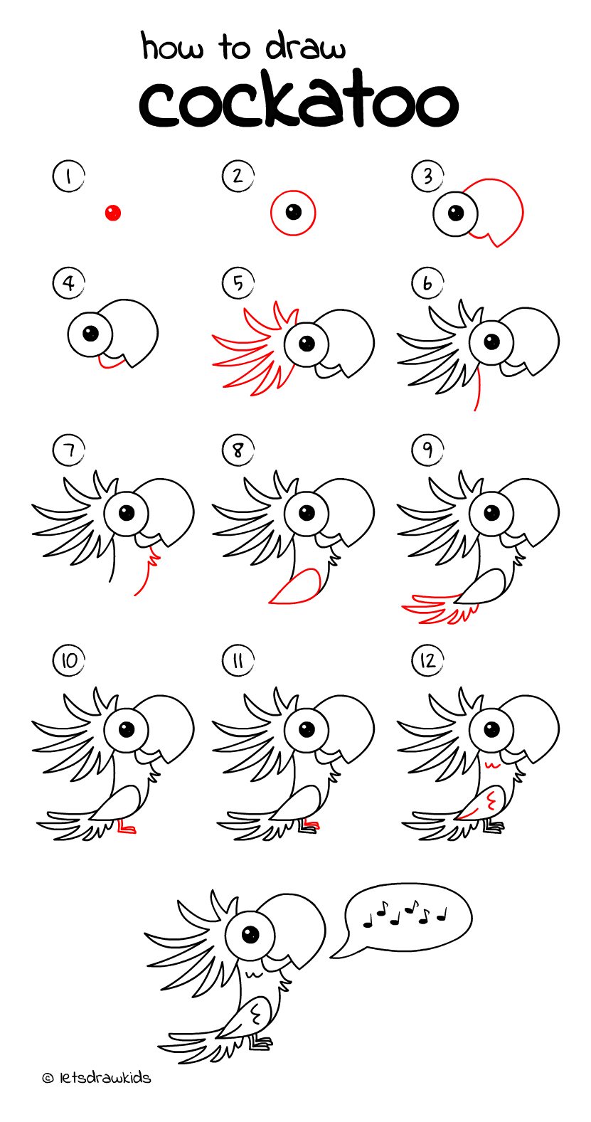 How to draw a umbrella is the point of this video. How to draw Cockatoo. Easy drawing, step by step, perfect ...