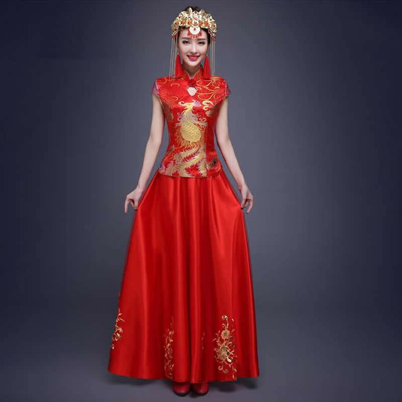 Traditional Chinese Wedding Dress Red Bride Wedding Dresses Qipao ...