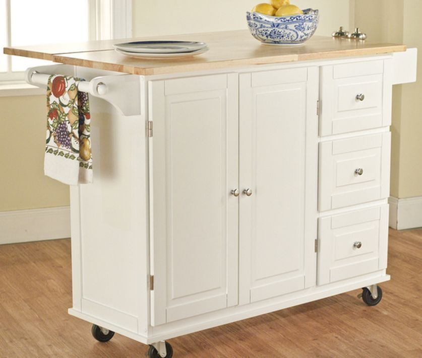 Rolling Utility Cart Wood Top Storage Organizer - Cabinet Kitchen ...