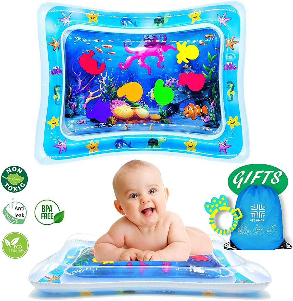 Tummy Time Baby Water Mat For 3 6 9 Months Newborn Boy Girl To Develop Motor Skills Sensory Growth Baby Babygirl Bab Tummy Time Motor Skills Sensory Toys