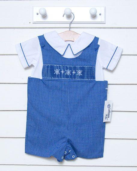 f2c2cd2f8 Clearance/Sale Boys Shortall Jon Jon Smocked Snowflakes Outfit ...
