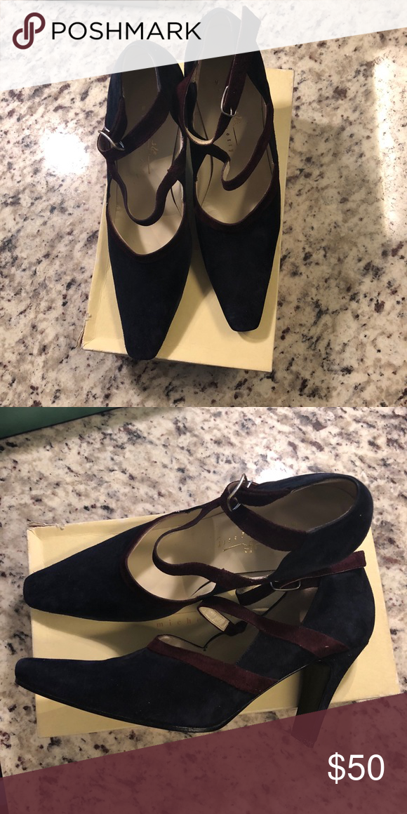 """f116e26c7e17 Vintage Michel Perry shoes Vintage from the 80""""s. They are navy with  burgundy trim. Michel Perry Shoes Heels"""