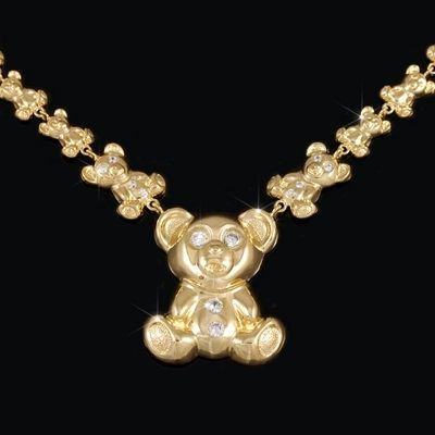 Teddy Bear Necklace Chain 10kt Gold Xoxo Hugs And Kisses Stampado Style G499216s Xoxo Necklace Bear Necklace Chains Necklace