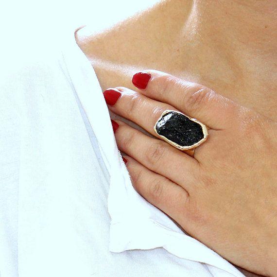 Tourmaline Ring Raw Tourmaline Ring Black Tourmaline Ring Natural Stone Ring Raw Crystal Ring Black Gemstone Ring Gold Adjustable Ring With Images Raw Crystal Ring Tourmaline Ring Raw Tourmaline Ring