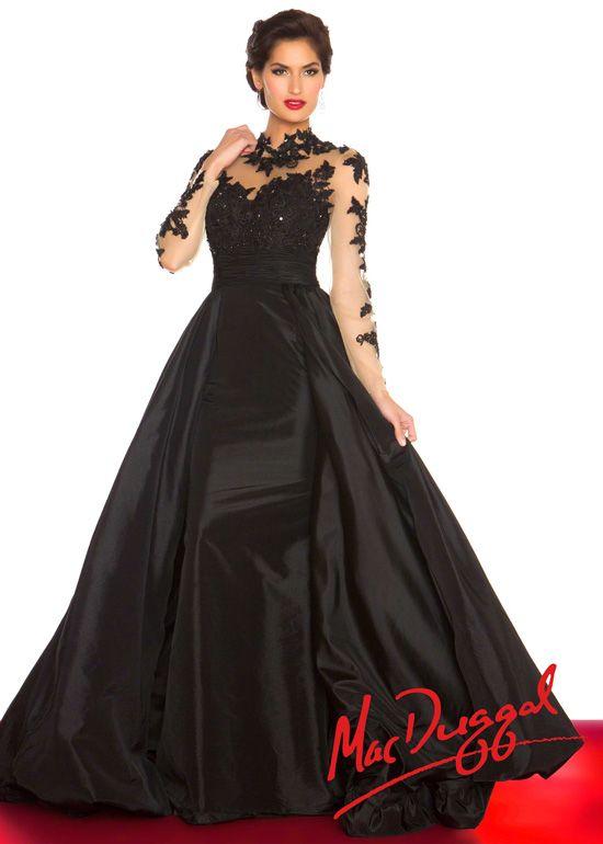 930c90b7add53 Mac Duggal 61393R - Midnight Ball Gown Long Sleeve Prom Dresses Online