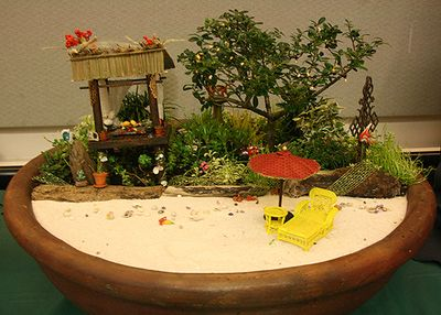 Dollhouses and Scenes From the Spring 2011 Seattle Dollhouse Miniature Show: A Bali Beach miniature scene with a living garden part of Janit Calvo's Eat, Pray Love Series exhibited at the spring 2011 Seattle Dollhouse Show.