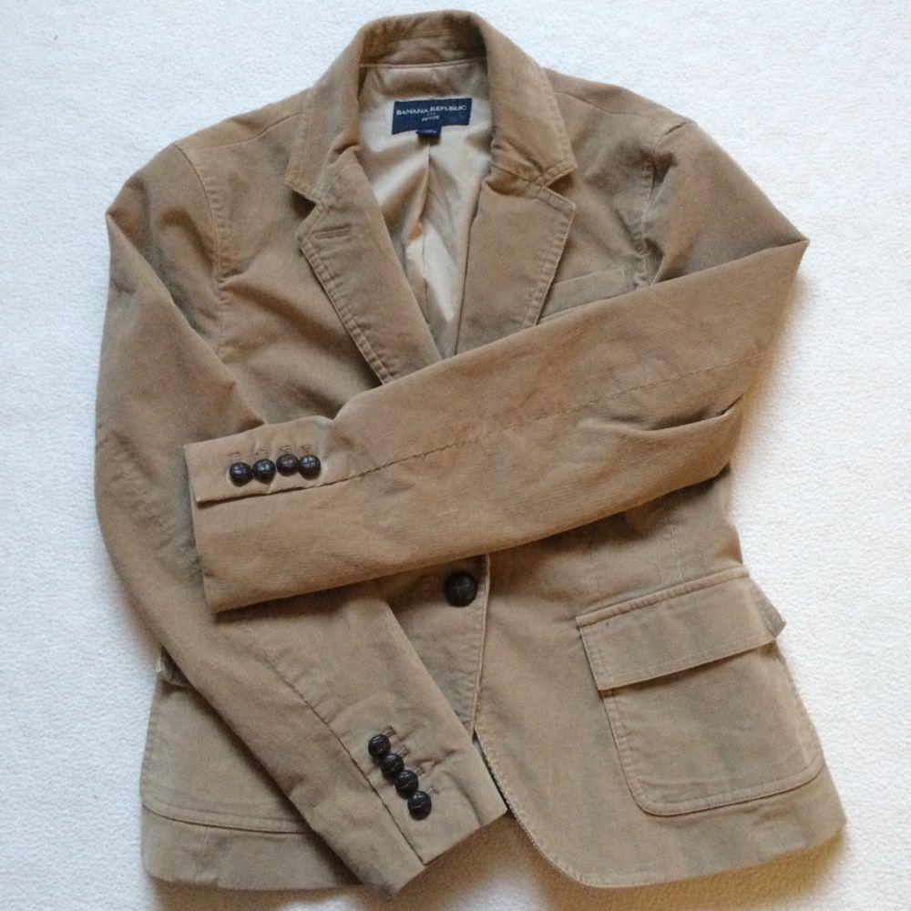 359fc894a3189 Banana Republic Women s Jacket Blazer Corduroy tan camel Lined SIZE 6  Petite  fashion  clothing