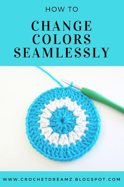 Learn how to change colors seamlessly when you crochet in the round. These picture and video tutorials will show you the difference between the common method and the seamless method.   #crochetround, #crochettip, #crochetstitch, #crochetcolorchange