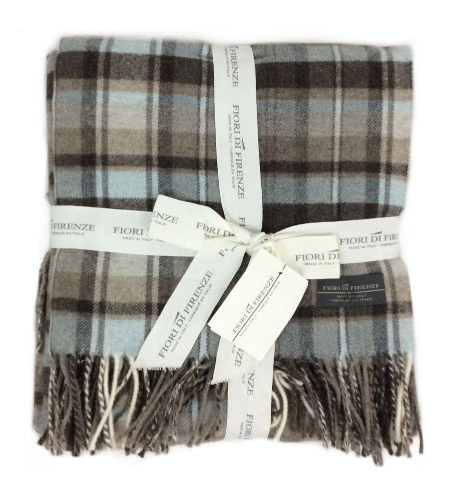 Fiori Di Firenze 100 Wool Tartan Plaid Oversized Throw
