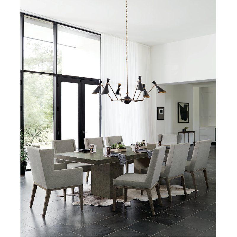 Modern Charcoal Upholstered 5 Piece Dining Set Linea Pedestal