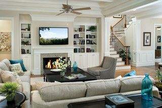 Columns On The Corners Of The Walls At The Stairs Electric Fireplace Living Room Living Room With Fireplace Traditional Family Rooms