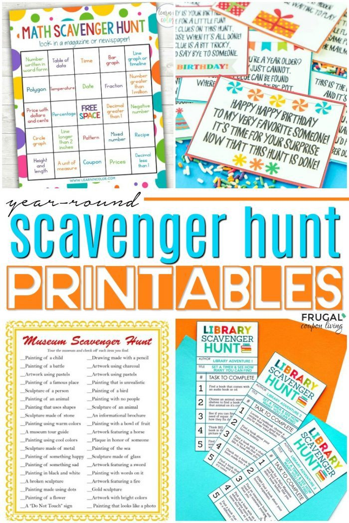 Printable Scavenger Hunts for Kids in 2020 Scavenger