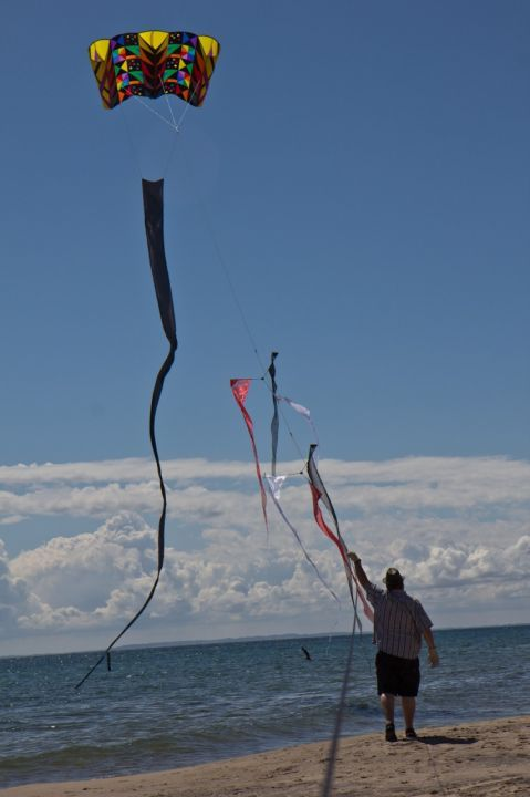 Mats flying a big kite south of Skagen, Denmark, 27th of june 2012