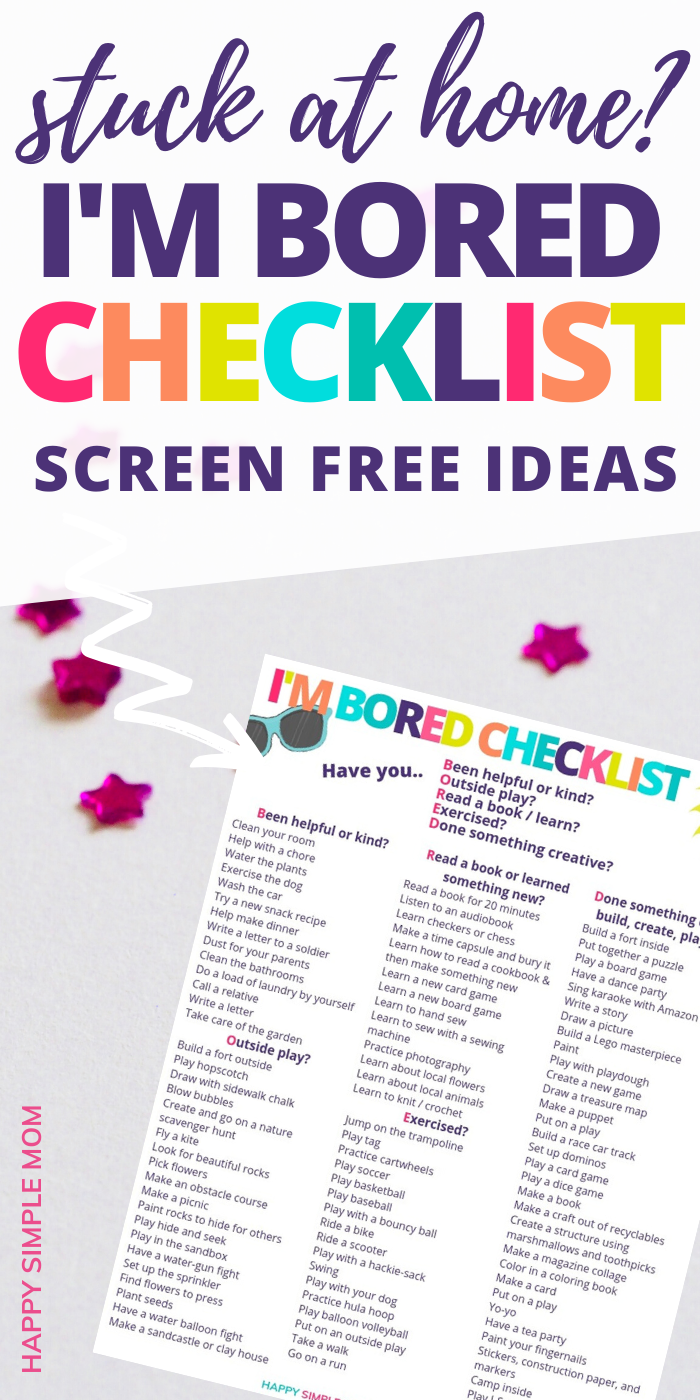 Things For Kids to Do When Bored Free Printable   Indoor ...