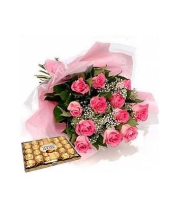 valentines day! 1 dozen pink roses with big ferrero. philippine, Ideas