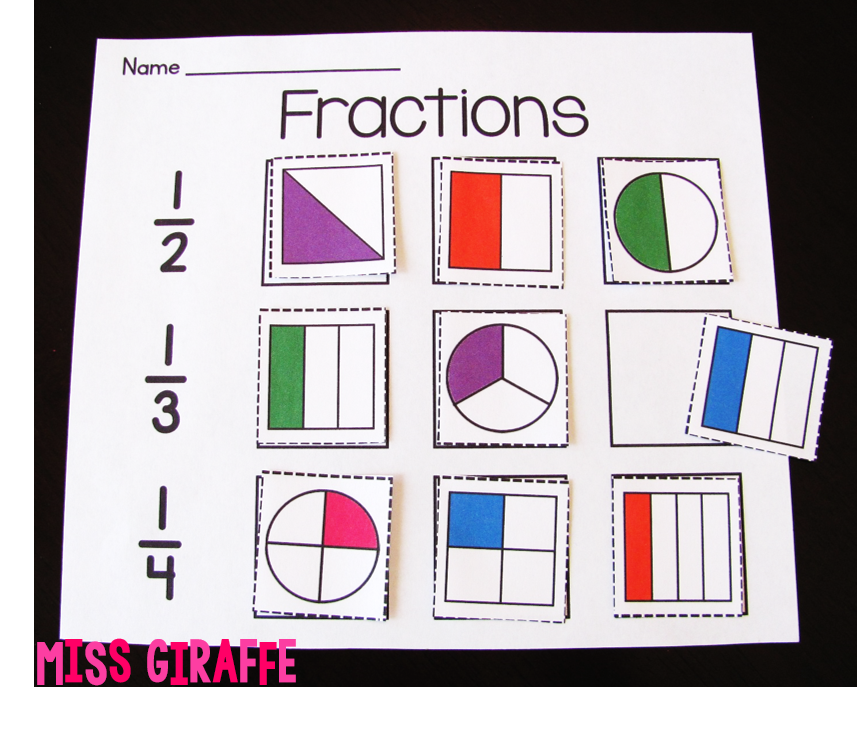 fractions in first grade cut and paste fraction shapes fun practice fractions pinterest. Black Bedroom Furniture Sets. Home Design Ideas