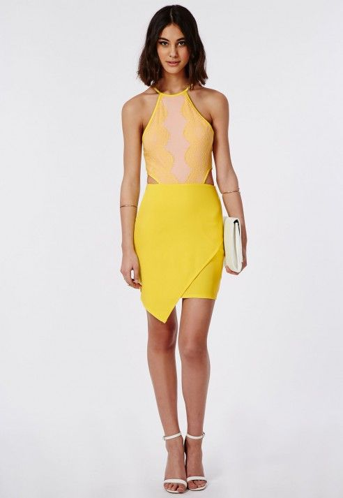 Zipita Cut Out Lace Asymmetric Mini Dress - Lace Dresses - Missguided