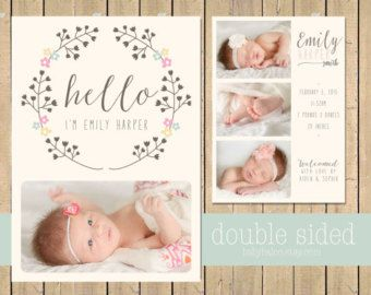 Baby Girl BIRTH ANNOUNCEMENT - Double sided - Newborn Printable ...