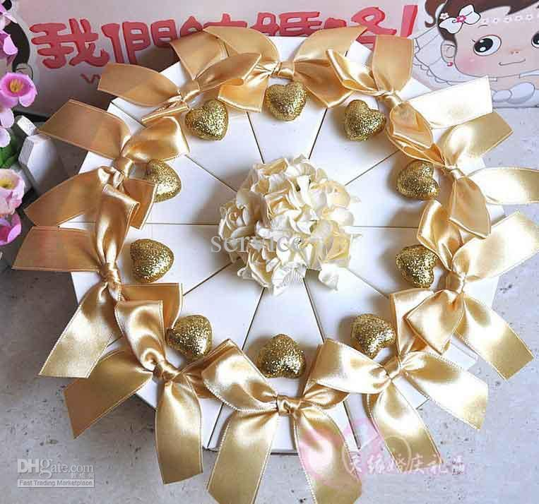 50pcslot Gold Ribbon With Cream Flowers Wedding Cake Box Party