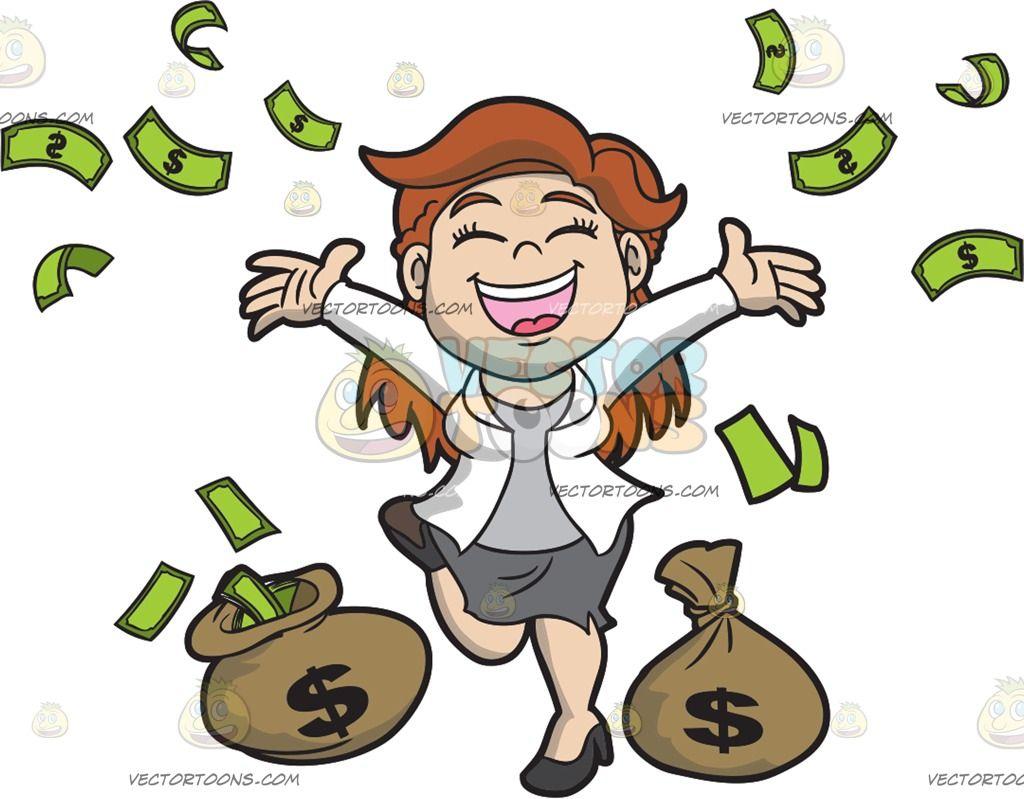 A Joyful Woman Celebrating Her Riches Dance Silhouette Graphic Desi Money Bag