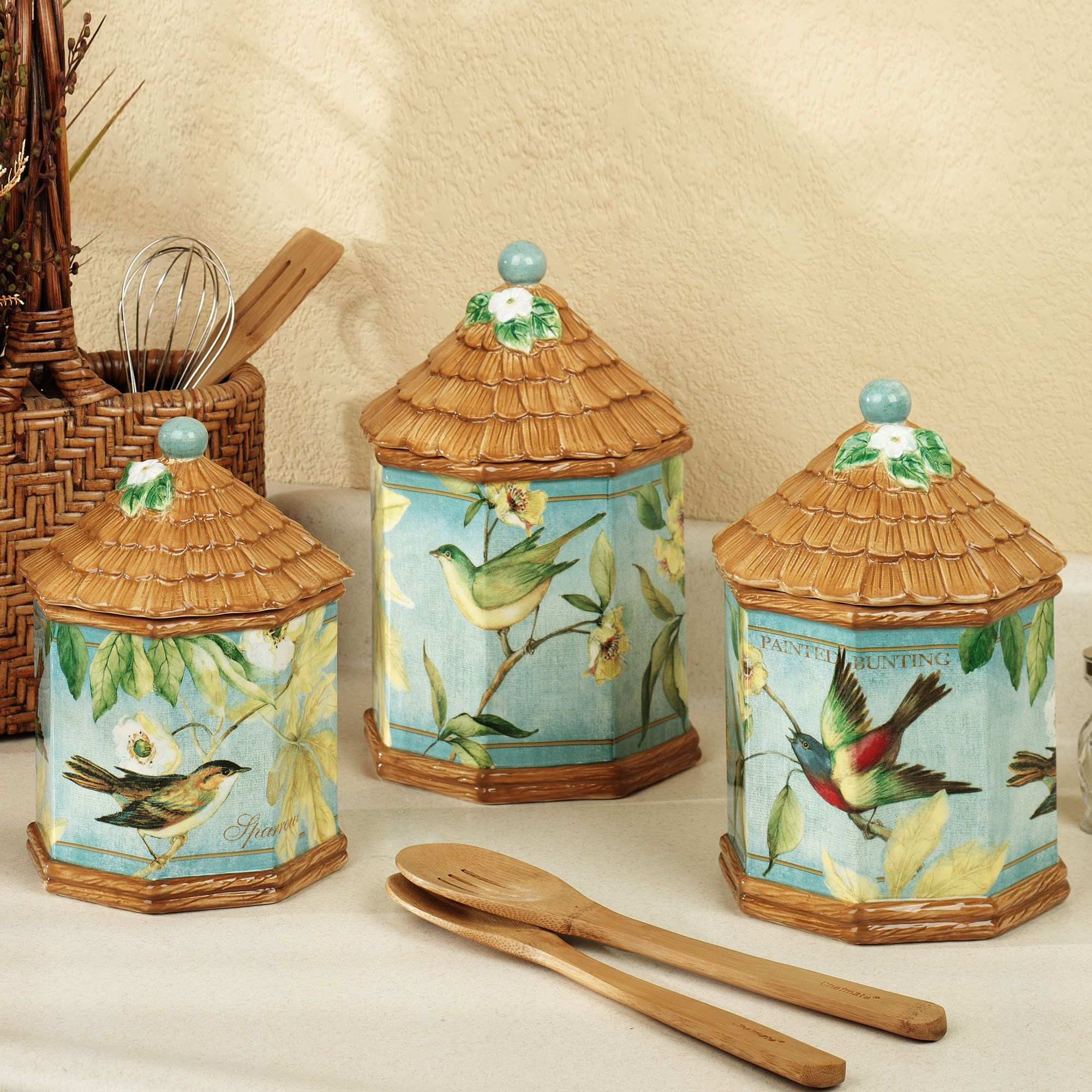 Tropical+Kitchen+Table+Sets - Home Botanical Birds Canister Set Multi Warm Set