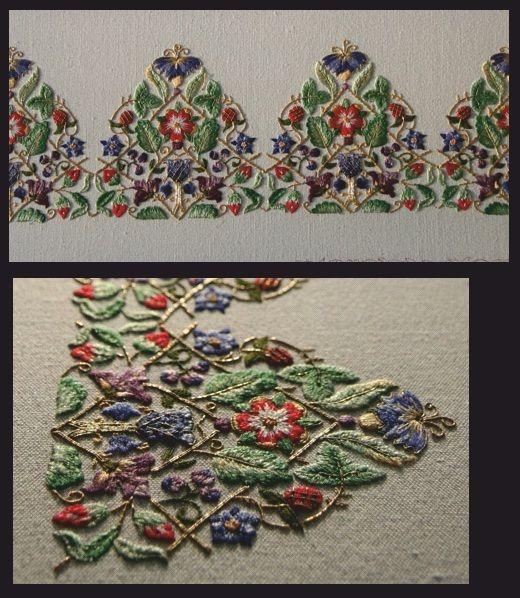 Motif floral brodé http://www.theunbrokenthread.com/blog/2012/10/14/trevelyon-cap/
