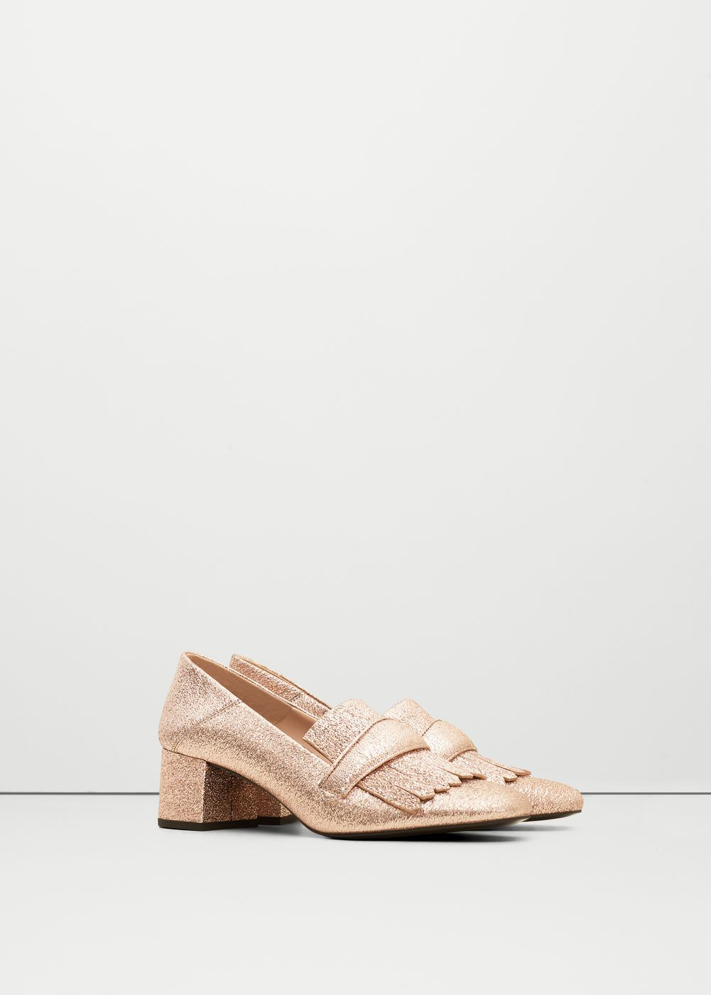 Metallic heel loafer - Women | MANGO USA
