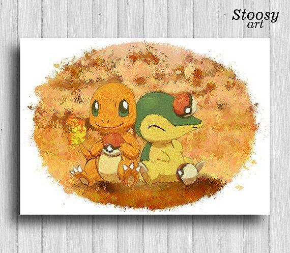 charmander and cyndaquil print pokemon painting manga