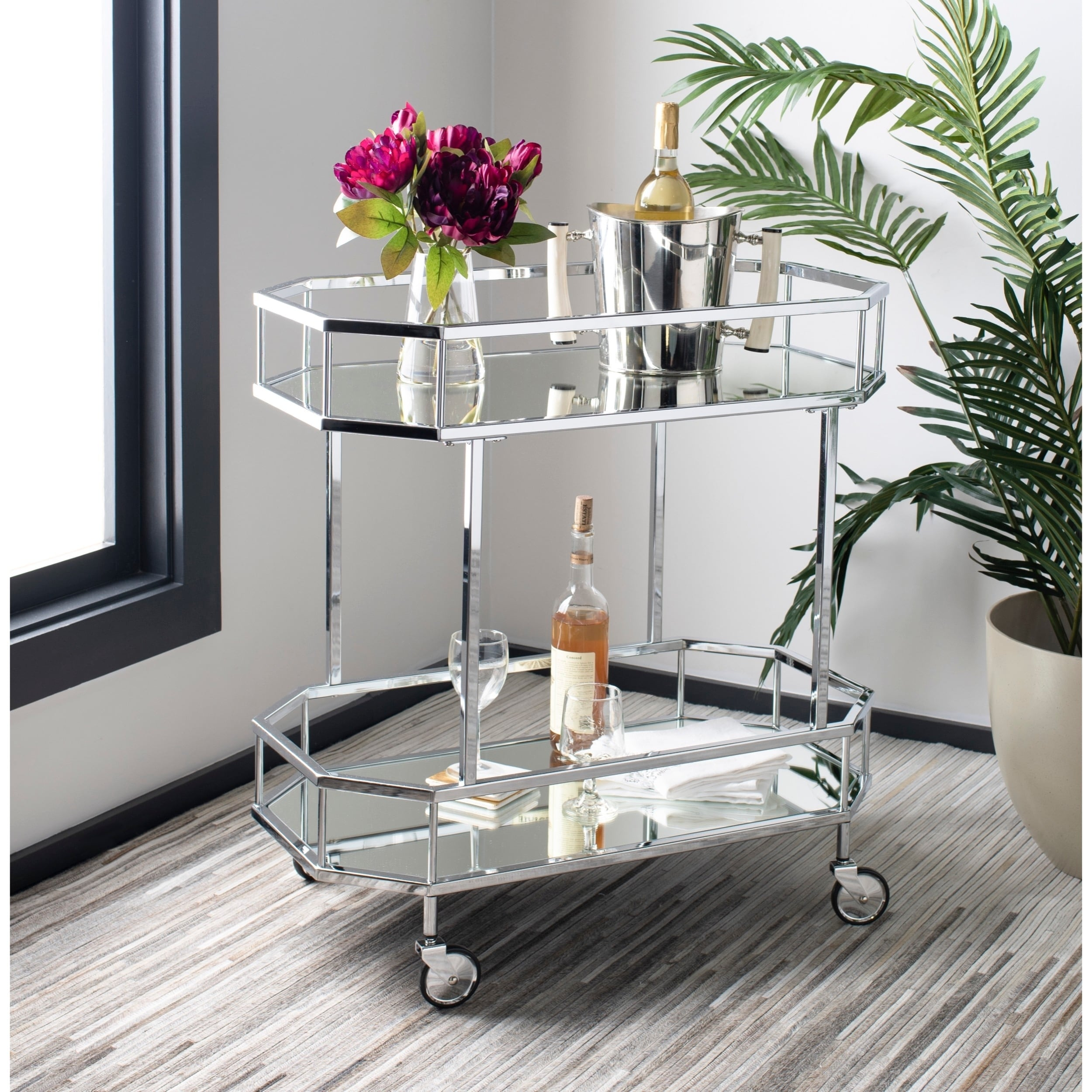 Safavieh Silva 2 Tier Octagon Bar Cart Silver Mirror 29 6 X 16 5 X 29 8 Silver Bar Cart Bar Cart Decor Rolling Bar Cart