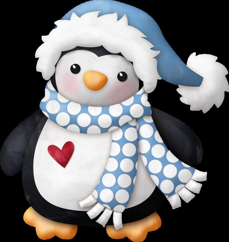 Анимационные, пингвины картинки новогодние