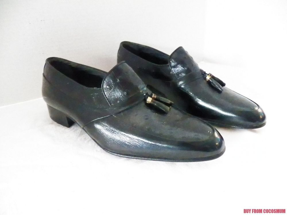 Vtg Pierre Cardin Ostrich Black Leather Tassel Loafer Dress Shoes Mens 41 7 1 2 Dress Shoes Men Shoes Mens Tassel Loafers