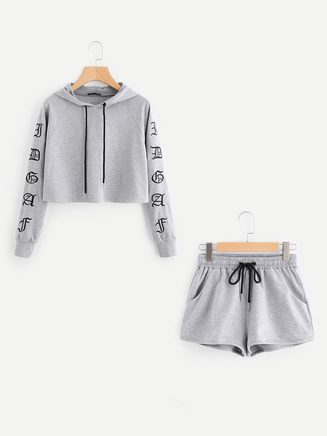082ed38fa Shop Heather Knit Crop Hoodie & Shorts Set online. SheIn offers Heather  Knit Crop Hoodie & Shorts Set & more to fit your fashionable needs.