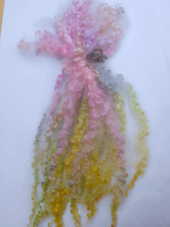 Quality PINK Wensleydale Locks curls,Dolls hair,felting,weaving,spinning,crafts