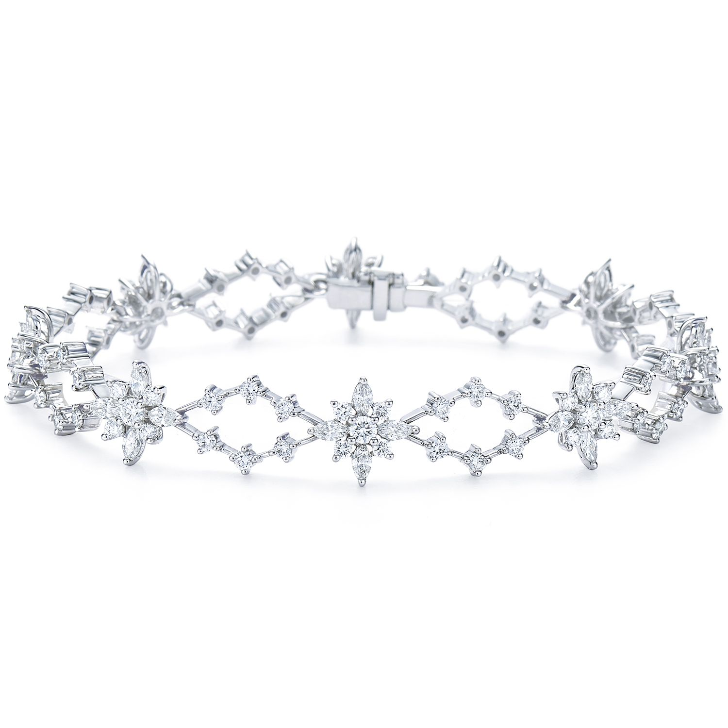 crystal stone diamond bridal collection with the sterling pembroke silver marquise bracelet set open