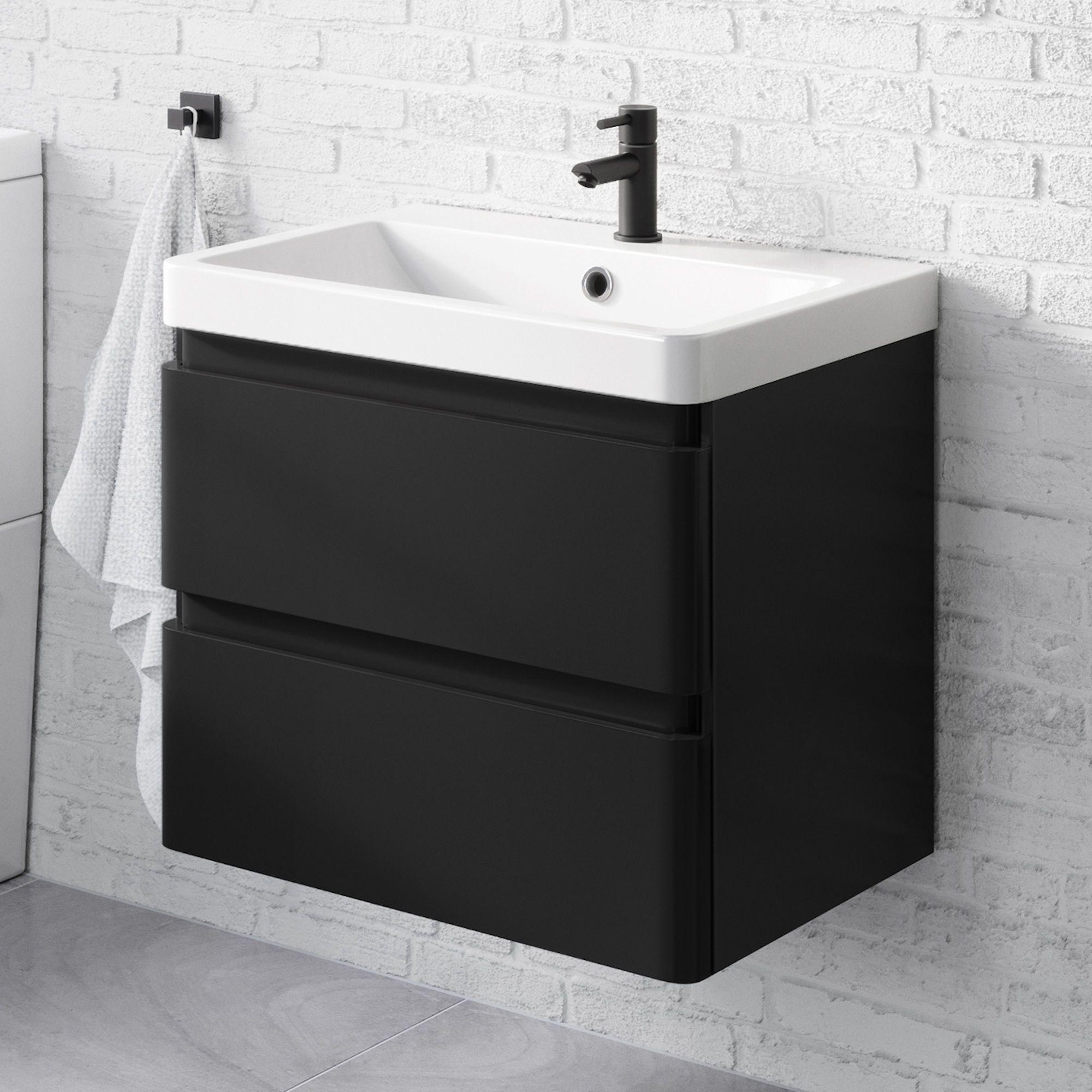 600mm Denver Ii Matte Black Built In Basin Drawer Unit Wall Hung Black Vanity Bathroom Black Bathroom Sink Black Bathroom