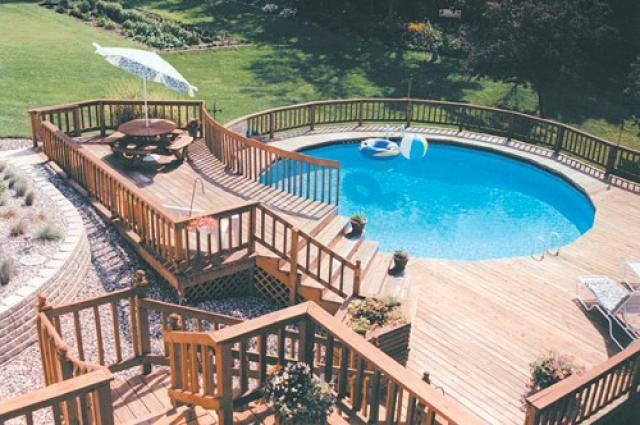 12 Above Ground Swimming Pool Designs Best Above Ground Pool Backyard Pool Landscaping Above Ground Swimming Pools