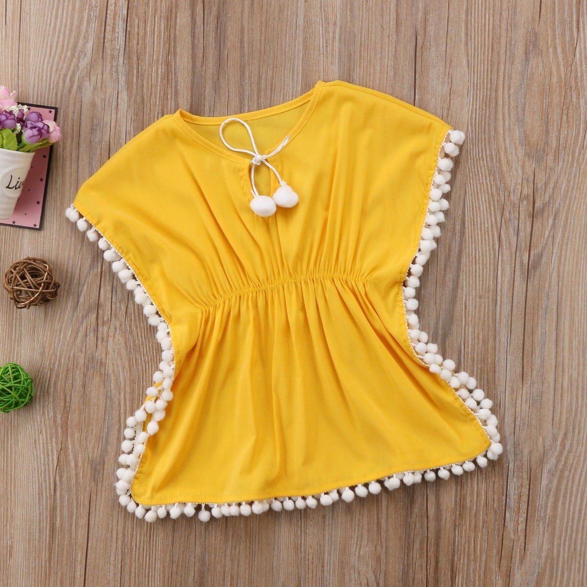 2019 Fashion Kids Baby Girls Dress Beach Sundress Flower Fringe Dresses Bikini Cover 6M-5T – YENİ DİKİŞ FİĶİRLERİ