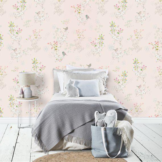 Removable Light Pink Wallpaper, Japanese Bird Wallpaper